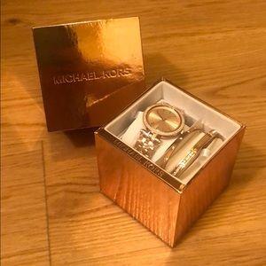 NWT Michael Kors Rose Gold watch & matching cuffs